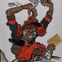 German Cartoon With France as Ape, 1914