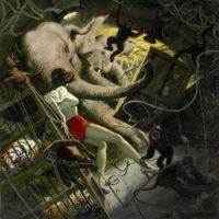 MORT+KÜNSTLER+(American+b.+1931).+Never+Fly+With+Elephants,+Argosy+story+illustration,+October+1961