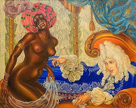 Kalmakoff+Nicholas+-+Self-Potrait+with+a+Black+Woman+-+color+-+1923