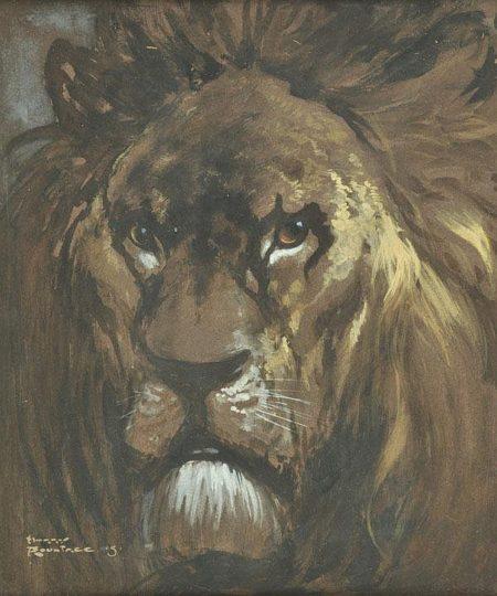n.d. Portrait of a Lion watercolour and gouache on paper 35 x 29 cm