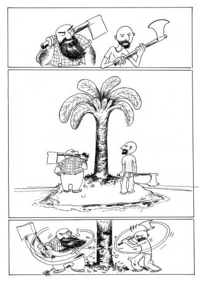 taper dans l'arbre